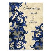 navy blue flourishwedding invites by mgdezigns