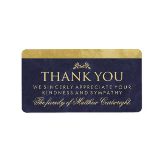 Elegant Navy Blue & Gold Family Thank You Message Label