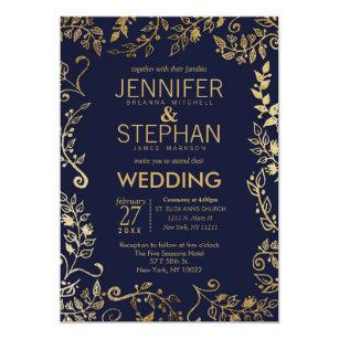 Elegant Navy Blue Gold Fl Wedding Invites