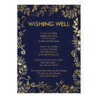 Elegant Navy Blue Gold Floral Wishing Well Card