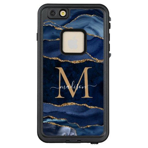 Elegant Navy Blue Gold Glitter Agate Monogram LifeProof FRĒ iPhone 6/6s Plus Case