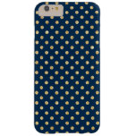Elegant Navy Blue Gold Glitter Polka Dots Pattern Barely There iPhone 6 Plus Case