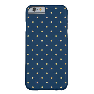 Elegant Navy Blue Gold Glitter Polka Dots Pattern Barely There iPhone 6 Case