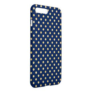 Elegant Navy Blue Gold Glitter Polka Dots Pattern iPhone 7 Plus Case