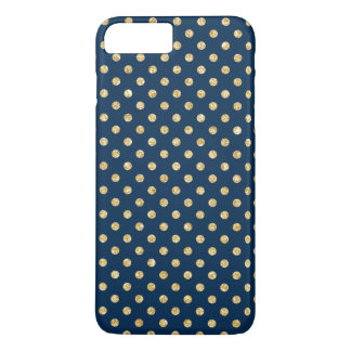 Elegant Navy Blue Gold Glitter Polka Dots Pattern iPhone 7 Plus Case