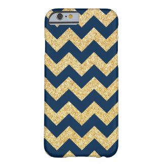 Elegant Navy Blue Gold Glitter Zigzag Chevron Barely There iPhone 6 Case