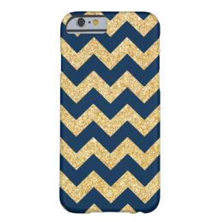 Elegant Navy Blue Gold Glitter Zigzag Chevron Barely There iPhone 6 Case