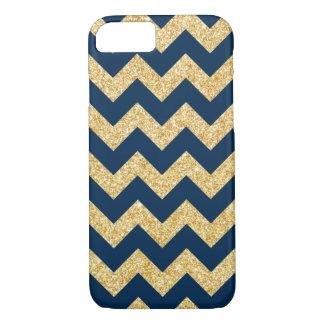 Elegant Navy Blue Gold Glitter Zigzag Chevron iPhone 7 Case