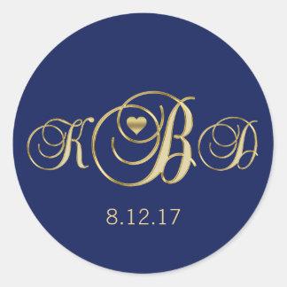Elegant Navy Blue Gold Monogram Wedding Classic Round Sticker
