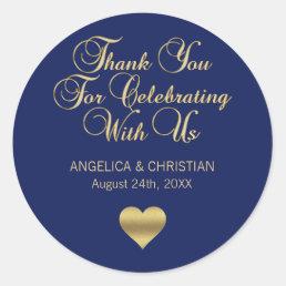 Elegant Navy Blue Gold Nautical Thank you Wedding Classic Round Sticker