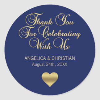 Elegant Navy Blue Gold Nautical Thank you Wedding Classic Round Sticker