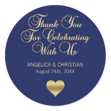 Valentines Themed Elegant Navy Blue Gold Nautical Thank you Wedding Classic Round Sticker