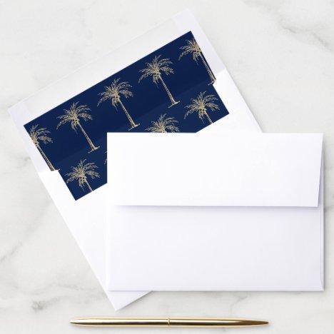 Elegant Navy Blue Gold Palm Tree Wedding Envelope Liner
