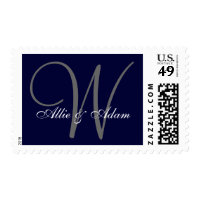 Elegant Navy Blue Gray Monogram Names Wedding Postage