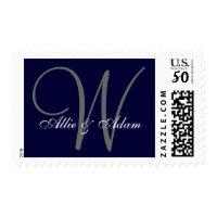 Elegant Navy Blue Gray Monogram Names Wedding Postage