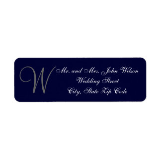 Elegant Navy Blue Gray Monogram Wedding Invitation Label