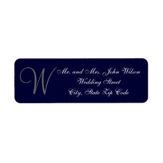 Elegant Navy Blue Gray Monogram Wedding Invitation Return Address Label
