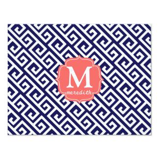 Elegant Navy Blue Greek Key Personalized 4.25x5.5 Paper Invitation Card
