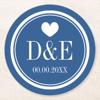 Elegant navy blue heart monogram wedding coasters