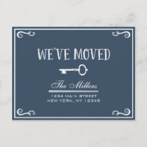 Elegant Navy Blue Key Moving Announcement