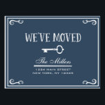 "Elegant Navy Blue Key Moving Announcement Postcard<br><div class=""desc"">Announce your new address to friends and family with a chic,  elegant moving announcement postcard. Simple,  fancy embellishments give this postcard a sophisticated look. Change the font style and color,  add text,  and add other unique touches by clicking on the &quot;Customize It&quot; button below the product image.</div>"