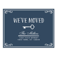 Elegant Navy Blue Key Moving Announcement Postcard at Zazzle