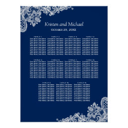 Elegant Navy Blue Lace Wedding Seating Chart