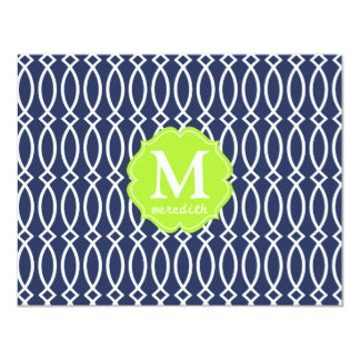 Elegant Navy Blue Modern Trellis Monogrammed 4.25x5.5 Paper Invitation Card