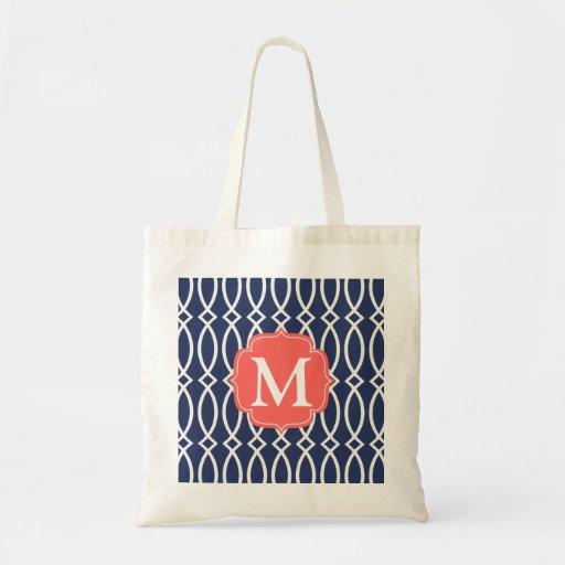 Elegant Navy Blue Modern Trellis Monogrammed Bag