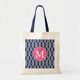 Elegant Navy Blue Modern Trellis Monogrammed Tote Bag
