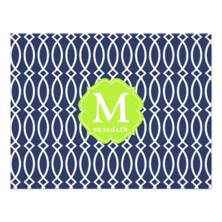 Elegant Navy Blue Modern Trellis Monogrammed Invitations
