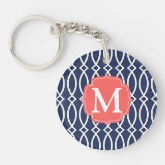 Elegant Navy Blue Modern Trellis Monogrammed Keychains
