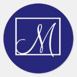Elegant Navy Blue Monogram Initial Wedding Label Round Sticker