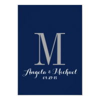 Elegant Navy Blue Monogram Wedding Invitation
