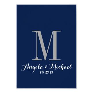 Elegant Navy Blue Monogram Wedding Invitation