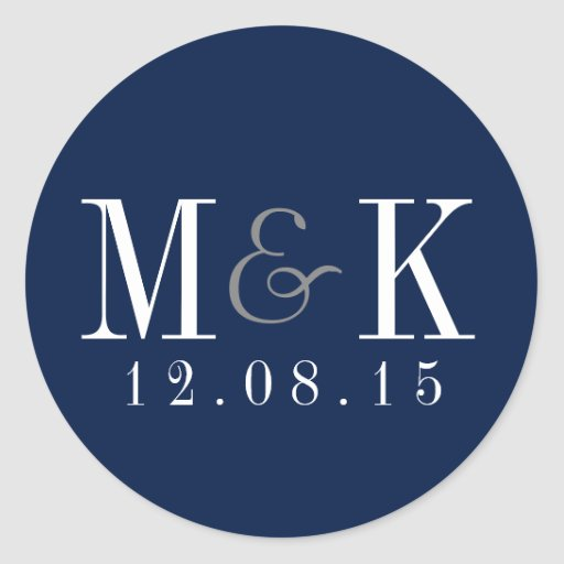 Elegant Navy Blue Monogram Wedding Sticker