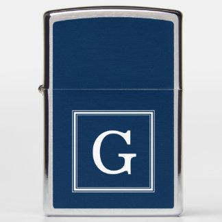 Elegant Navy Blue Monogrammed Zippo Lighter