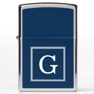 Elegant Navy Blue Monogrammed