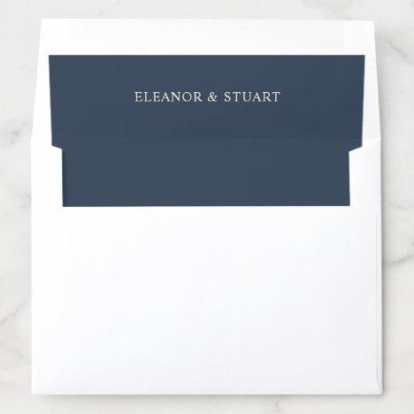 Elegant Navy Blue Names Wedding Envelope Liner