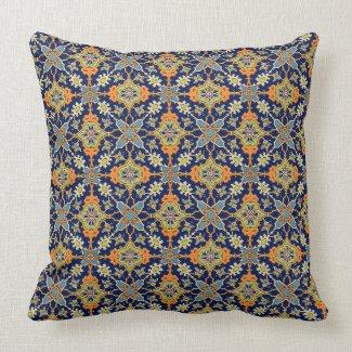Elegant Navy Blue Orange American MoJo Pillow