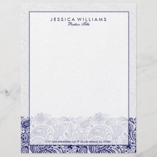 Elegant Navy Blue Paisley Lace White Background Letterhead