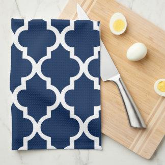 Elegant Navy Blue Quatrefoil Tiles Pattern Kitchen Towels