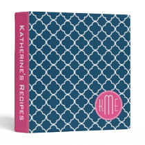 Elegant Navy Blue Quatrefoil with Pink Monogram Binder