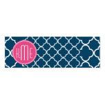 Elegant Navy Blue Quatrefoil with Pink Monogram Business Card Templates