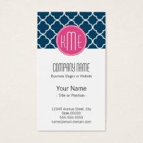 Elegant Navy Blue Quatrefoil with Pink Monogram Business Card