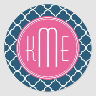 Elegant Navy Blue Quatrefoil with Pink Monogram Classic Round Sticker