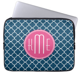 Elegant Navy Blue Quatrefoil with Pink Monogram Computer Sleeve