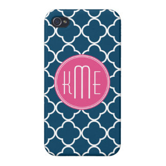 Elegant Navy Blue Quatrefoil with Pink Monogram Cover For iPhone 4