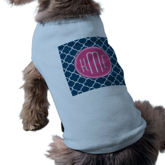 Elegant Navy Blue Quatrefoil with Pink Monogram Dog T-shirt