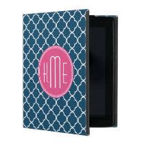 Elegant Navy Blue Quatrefoil with Pink Monogram iPad Case